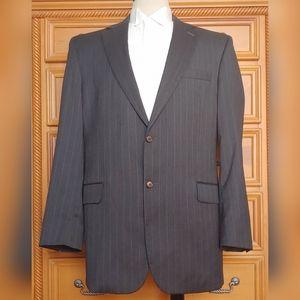 Jos A Bank 44L Black Pinstripe Blazer 100% Wool